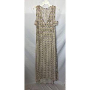 Flynn Skye White Geometric Print Maxi Dress Size L